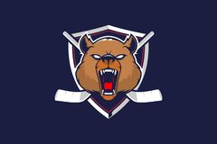 Aggressive grizzly bear head with shield for hockey team logo vector template vector illustration
