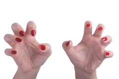 Aggressive hands with long nails Stock Photo