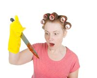 Aggressive Housewife With Bloodstained Knife. Stock Photography