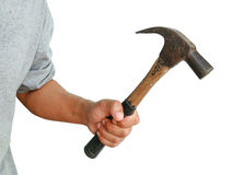 Aggressive human hand holding hammer. On white background Stock Image