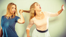 Aggressive mad women fighting each other. Royalty Free Stock Image
