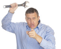 The aggressive man Stock Images