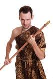 Aggressive savage hunter Royalty Free Stock Image