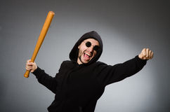 The aggressive man with basebal bat Stock Photo