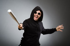 Aggressive man with basebal bat Royalty Free Stock Photos