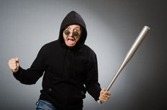 Aggressive man with basebal bat Royalty Free Stock Photography