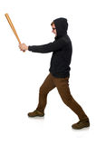 The aggressive man with baseball bat isolated on white Royalty Free Stock Image
