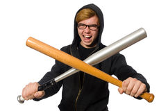 The aggressive man with baseball bat isolated on white Royalty Free Stock Photography