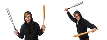 The aggressive man with baseball bat isolated on white Royalty Free Stock Images