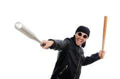 Aggressive man with baseball bat on white Royalty Free Stock Photo