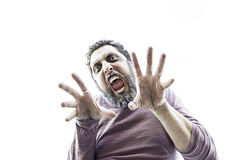 Aggressive man fear Royalty Free Stock Photography