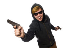 The aggressive man with gun isolated on white Royalty Free Stock Image