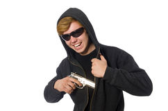 The aggressive man with gun isolated on white Stock Image