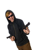 The aggressive man with gun isolated on white Stock Photo