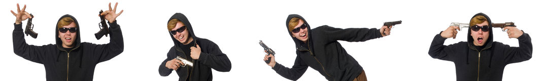 The aggressive man with gun isolated on white Royalty Free Stock Photography