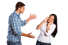 Aggressive man overpowering his girlfriend Royalty Free Stock Photos