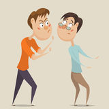 Aggressive man threatening frightened man in anger. Emotional concept of aggression and violence. Cartoon characters. Vector illustration Royalty Free Stock Image