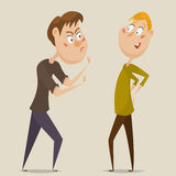 Aggressive man threatening laughing man. Emotional concept of aggression and ignoring. Cartoon characters. Vector illustration Stock Photo