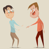 Aggressive man threats and shouts on frightened man in anger. Emotional concept of aggression, tyranny and despotism. Cartoon characters. Vector illustration Royalty Free Stock Images