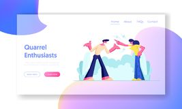 Aggressive Man and Woman Quarrel and Swear Yell on each other. Husband and Wife Scandal. Relations, Angry People Fighting. Website Landing Page, Web Page royalty free illustration