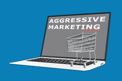 Aggressive Marketing concept. 3D illustration of AGGRESSIVE MARKETING script with a supermarket cart placed on the keyboard Stock Images