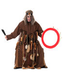 Aggressive middle-aged shaman posing at camera. Isolated on white Royalty Free Stock Photos