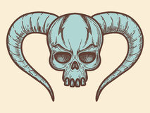 Aggressive monsters skull with horns Stock Photography