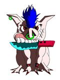 Isolated Aggressive pig with knife. Illustration representing a very angry pig. A funny image that can be used also for decorating t shirts Royalty Free Stock Image