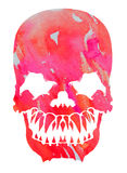 Aggressive pink watercolor skull Stock Photos