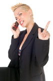 Aggressive punk business woman. Portrait of aggressive punk rock business woman on the phone Stock Image