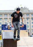 Aggressive rollerblading competition Stock Images