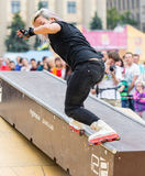 Aggressive rollerblading competition Royalty Free Stock Image