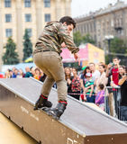 Aggressive rollerblading competition Royalty Free Stock Photo