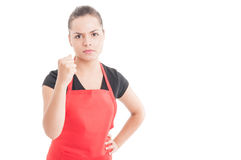 Aggressive saleswoman on market fighthing with somebody. As threat concept  on white background with copy space Royalty Free Stock Images