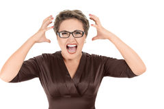 Aggressive screaming businesswoman Stock Photography