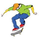 Aggressive skateboarder. Dynamics jump vector stock illustration