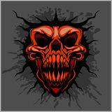 Aggressive skull for motocross helmet. On dark background Stock Photos