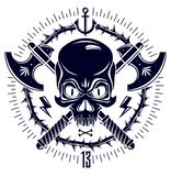 Aggressive skull pirate emblem Jolly Roger with weapons and other design elements. Aggressive skull pirate emblem Jolly Roger with weapons and other design stock illustration