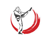 Aggressive Taekwondo Martial Art In Action Logo - Fast Action Defense Kick Flame Stock Images