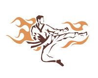 Aggressive Taekwondo Martial Art In Action Logo - Flying Flaming Kick Stock Image
