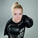 Aggressive teenager girl with box gloves on the grey background Stock Images