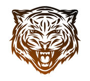 Aggressive tiger face. Line art style. Stock Image