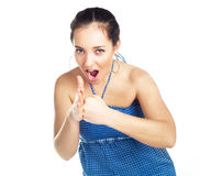 Aggressive woman. Aggressive young woman showing her fists royalty free stock photos