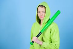 Aggressive woman with bat. Fighting with aggression. Street life. Sporty girl fighter. woman workout with baseball bat. Sport equipment. Athletic fitness. copy stock image