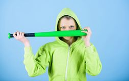 Aggressive woman with bat. Sport equipment. Athletic fitness. Fighting with aggression. Street life. Sporty girl fighter. Woman workout with baseball bat. I am royalty free stock images