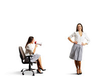 Aggressive woman and calm smiley woman Royalty Free Stock Photos
