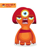 Aggressive Woman. Cartoon Cute Female Monster. Cyclops Monster Girl. Angry Mascot. Vector Illustration On A White Background. Vector For Poster, Or Print On Royalty Free Stock Images