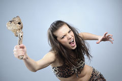 Aggressive woman fighting Stock Photos