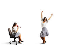 Aggressive woman and joyful woman Stock Photos