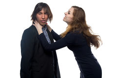 Aggressive woman and man Stock Photography